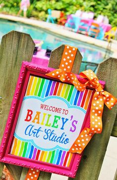 Art themed 8th birthday party via Kara's Party Ideas KarasPartyIdeas.com Printables, cake, decor, cupcakes, desserts, invitation, etc! #artparty #paintingparty #karaspartyideas (8)