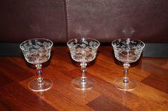 3 Vintage Clear Depression Glass Wine Glasses/Stemmed Floral Etched Wine Glasses/Etched Flower Glass by DebiLynneVintage on Etsy