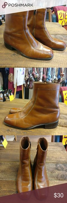Hanover Men's Leather Blend Boots Hanover Men's Shoes  Stamping says size 12 (check last photo for measurements) Leather and man made material  Minor wear  Camel colored Hanover Shoes