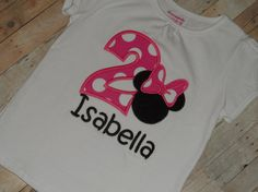 Baby toddler girls custom applique Minnie Mouse birthday shirt 12 18 24 months 2t 3t 4t 5t by CleanStitches on Etsy https://www.etsy.com/listing/160051130/baby-toddler-girls-custom-applique