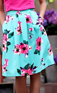 Turquoise Floral Skirt [MSS9273] - $44.99 : Mikarose Boutique, Reinventing Modesty