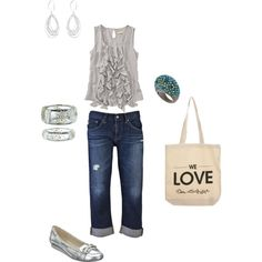 jeans + gray casual