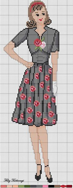 0 point de croix femme robe noir fleurs rouges  - cross stitch lady in black and red flowers dress