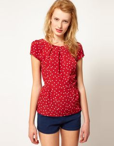 cute red and white polka dot blouse