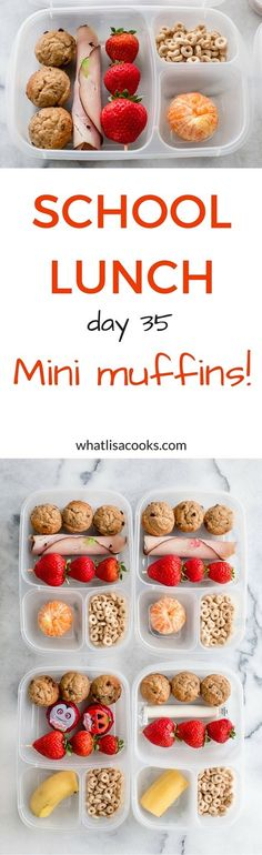 Easy and fun school lunch idea from WhatLisaCooks.com - breakfast for lunch with mini banana chocolate chip muffins (easy recipe included).