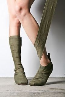 Wrap boots! For serious.  Here we have the wrap boot, inspired by the colorful leg wraps worn by champion Argentine polo horses.  Made from an elastic wrap extending from the ankle, you can wear them with shorts or wind them up over your jeans.  Love.