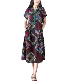 MelBedy Fashion Womens Cotton and linen Aztec Patterned Oversized Maxi Shirt Dress * Awesome product. Click the image : Plus size dresses