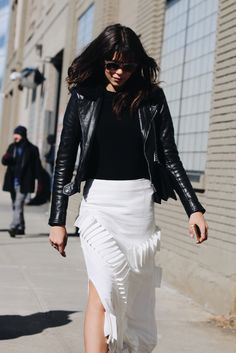 How to nail white after Labor Day? Mix it with an edgy biker jacket.