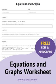 This free Equations and Graphs Geometry worksheet with answers is fully customizable and autogradable with Bakpax! Better yet, students can complete it online or on paper. Check out more standards-aligned math assignments like this one at bakpax.com.