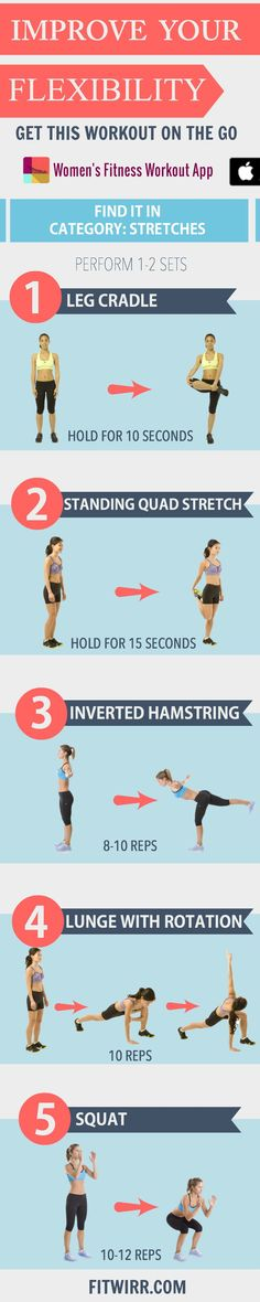 Flexibility Workout. 5 stretches to Improve your flexibility - www.fitwirr.com.