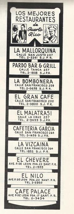 Los Mejores Restaurantes de Puerto Rico en 1949 | Historia y Genealogia PR
