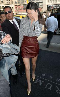 kendall jenner red leather mini skirt striped shirt