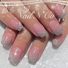 trendy nails gel tips french manicures simple designed - Nail Art Gallery - Nail Desing nail design january - - Nail Desing - - Coffin Nails - The – Fingernägel und Fußnägel francesa O O beautiful winter nails art you should copy now page 2 Cute Nail Art Designs, Simple Nail Designs, Cute Nails, Pretty Nails, French Nail Art, French Gel, Coffin Shape Nails, Silver Nails, Silver Glitter
