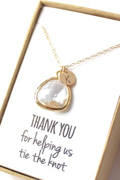 Clear Crystal Necklace  Crystal Bridesmaid Necklace by ForTheMaids, $26.00