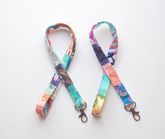 Patchwork Lanyard  OOAK  ID Badge Holder  Key by OmeesBoutique