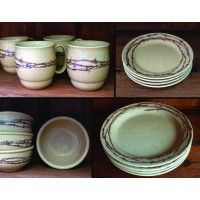 CowboyLiving.com -- Barbwire Collection 16 Piece Dinnerware Set (Round Dinner Plates)  sc 1 st  Pinterest & Cowboy Christmas Western Dinnerware 20 Pc Set by True West - Best ...