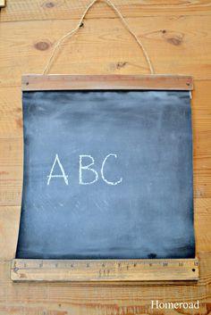 Vintage Look Ruler Chalkboards using roller shades! www.homeroad.net