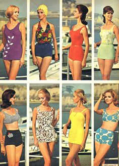 Mid mod swimwear from Sears, 1964 - 1960's fashion, vintage swimsuits  #flattering