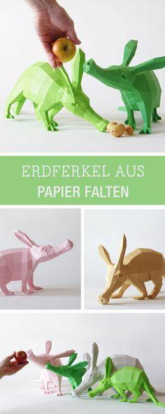 Witzige Erdferkel aus Papier: Printable für die Origami-Tiere gibt's hier / diy tutorial: origami aardvark made of paper via DaWanda.com