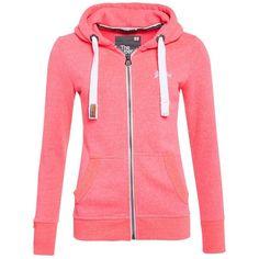 Superdry Orange Label Zip Hoodie ($76) ❤ liked on Polyvore featuring tops, hoodies, pink, women, red hoodie, orange hoodie, zip up hoodie, pink hoodie and hooded sweatshirt