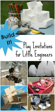 Building Activities for Kids...6 Invitations for Kids to Create. Perfect for Little Engineers! Fun activity to go with Apologia Chemistry & Physics for k-6, keep younger children engaged while mom helps older children #homeschool