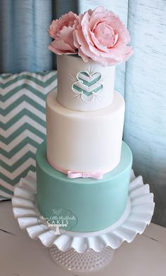 aqua chevron cake by three little blackbirds cakes