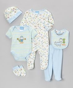 Take a look at this Powder Blue & White 'Dino' Six-Piece Layette Set - Infant by Duck Duck Goose on #zulily today!