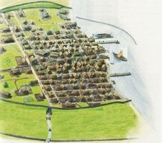 Possible reconstruction, Viking settlement, hillside, Cork, Ireland