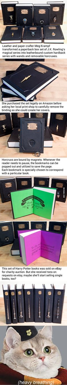 "Leatherbound ""Harry Potter"" book comes with horcrux bookmarks, shut up and take my sickles!"