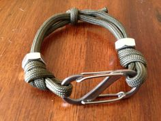 Unisex rockclimbing outdoor inspired bracelet jewelry climbing paracord rope hex hardware S clasp OD green unique!