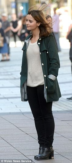 """Clara Oswald   Jenna Coleman   Doctor Who   filming """"Death in Heaven"""" on Queen Street in Cardiff 17 July 2014"""