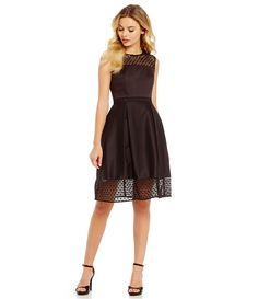 Black:Calvin Klein Lace Cut Out Fit-and-Flare Dress