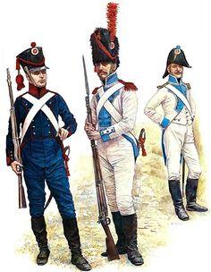 "NAP- France: ""Grand Duchy of Berg, by Richard Scollins. Gunner, Grand Duchy of Berg, 1812. Grenadier Corporal, Infantry Regiment, 1812. Infantry Captain, 4th Regiment, 1812""."
