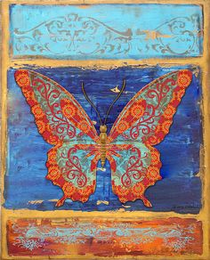 Fanciful Orange Butterfly Painting