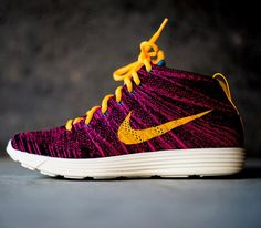 nike lunar flyknit chukka purple and yellow
