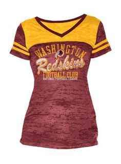 Grab this Ladies Football Burnout Redskins T-Shirt today and turn heads while cheering on the Washington #Redskins at the next game.