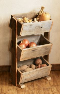 Potato Bin / Vegetable Bin - Barn Wood - Rustic Kitchen Decor - Handmade
