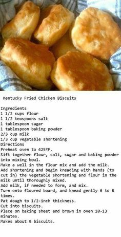 KFC Biscuits KFC Biscuits Related posts: Homemade Freezer Biscuits Air Fried-Air Fryer-Homemade From Scratch Baking Powder Biscuits Bread Recipes Chicken And Biscuits, Fried Biscuits, Buttermilk Biscuits, Kentucky Fried Chicken Biscuit Recipe, Kentucky Biscuits, Kfc Fried Chicken Recipe, Easy Homemade Biscuits, Baking Powder Biscuits, Buttermilk Fried Chicken