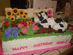 Candy melts were my savior on this cake. They were used for the fence. I made a mold out of foil, froze it and voila...fence!  90th bday cake for Grandma who lives on a farm. Everything is edible and was oh-so-tasty. My amazing hubby made the cow out of crispy treats and fondant.