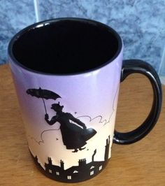 Disney Mary Poppins Mug / Coffee Cup - Silhouette MINT!  HIGHLY COLLECTIBLE!