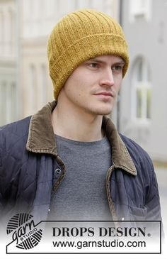 Sun In The City - Knitted hat / hipster-hat for men with rib in DROPS Sky. - Free pattern by DROPS Design Drops Design Sun In The City - Knitted hat / hipster-hat for men with rib in DROPS Sky. - Free pattern by DROPS Design Beginner Knitting Patterns, Knitting For Kids, Easy Knitting, Mens Hat Knitting Pattern, Crochet Patterns, Hat Patterns, Drops Design, Knit Hat For Men, Hat For Man