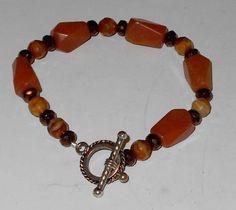 Red  Aventurine & Amber Bracelet #Handmade #Beaded