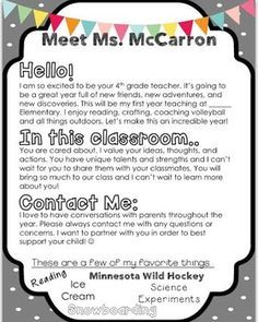 "LETTER OF INTRO TO STUDENTS-Completely editable ""meet the teacher"" letter perfect for back to school! Included in this compressed file is:-My back to school letter example-Editable letterThanks! Letter To Students, Letter To Teacher, Letter To Parents, Parents As Teachers, New Teachers, Student Welcome Letter, Kindergarten Welcome Letter, Kindergarten Open House Ideas, Parent Letters From Teachers"