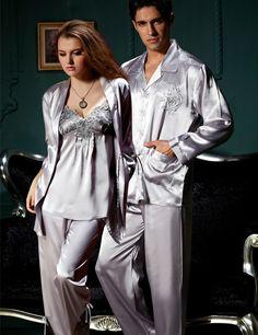 Free Shipping Couple Pajamas Emulation Silk Women Pijama Full Sleeve Men Pyjama V-neck Solid Sleepwear Casual Nightwear 8306