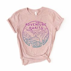 The perfect t-shirt for your next outdoor adventure! Adventure awaits! This unisex t-shirt feels soft and light, with just the right amount of stretch. Slightly on the longer side, this won't ride up while you're hiking. It's comfortable and the unisex cut is flattering for both men and women. Adventure Awaits, Order Prints, Cool Shirts, Unisex, Tees, Material Things, Books, Cotton, How To Wear