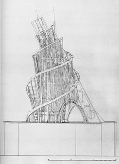 Vladimir Tatlin's Tower or The Monument to the Third International Paper Architecture, Architecture Drawings, Architecture Design, Memorial Architecture, Harlem Renaissance, Parasitic Architecture, Russian Constructivism, Constructivism Architecture, Bauhaus