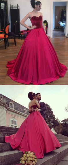 Sweetheart Satin And Velvet Engagement Dresses,Sweep Train Ball Gown Prom Dresses 2018 Dresses For Teens Wedding, Fall Bridesmaid Dresses, Prom Dresses For Sale, Cheap Dresses, Homecoming Dresses, Colored Wedding Dress, Sweetheart Wedding Dress, Lace Evening Dresses, Quinceanera Dresses