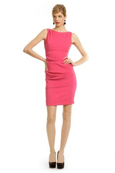 Nicole Miller Wall Street Woman Dress - Elle Woods taught us in Legally Blonde that women shouldn't be afraid of incorporating pink into the workplace, and this Nicole Miller sheath dress proves that true! Just pair with a neutral, fitted blazer to cover the peek-a-boo back and you'll be ready to rock that interview!