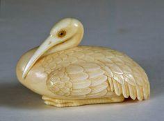 Ivory Crane Netsuke.