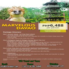 4 DAYS MARVELOUS DAVAO Minimum of 2 persons  For more inquiries please call: Landline: (+63 2) 8 282-6848 Mobile: (+63) 918-238-9506 or Email us: info@travelph.com #Davao #Philippines #TravelPH #TravelWithNoWorries Davao, Tour Operator, Philippines, Tours, Travel, Viajes, Destinations, Traveling, Trips